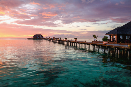 A beautiful colorful sunset over the ocean, Maldives Stock Photo