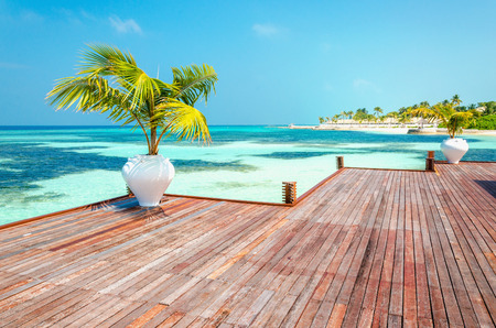 Wooden balcony of a luxurious resort with a view of a paradise beach with tall palm trees