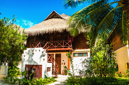 Exotic bungalow with tall palm trees