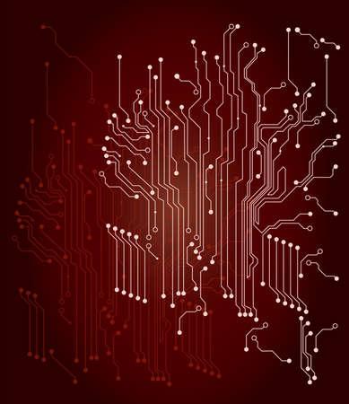 printed circuit board: Circuit Board - Carte de circuit imprim� � fond rouge Illustration