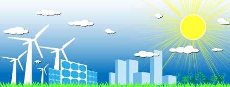 solarpower: Eco City Illustration