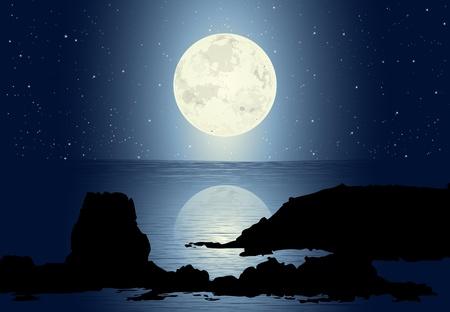 luz de luna: Moonlight - Paisaje marino con las rocas y la luna llena de estrellas Vectores