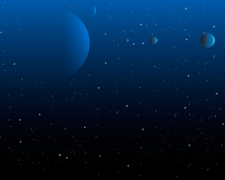obscure: Night Sky - Cielo nocturno con estrellas y un sistema de planeta Vectores