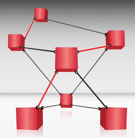 Red Cubes Connected Vector