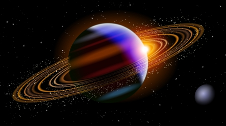 Saturn In Space Vector