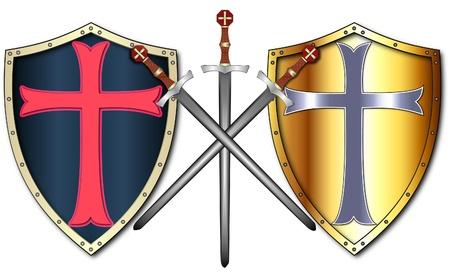 Crusader Shields and Swords 矢量图像