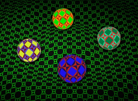 Spheres Over 3D Green Surface Stock Photo - 16955877