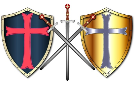 buckler: Crusader Shields and Swords Stock Photo