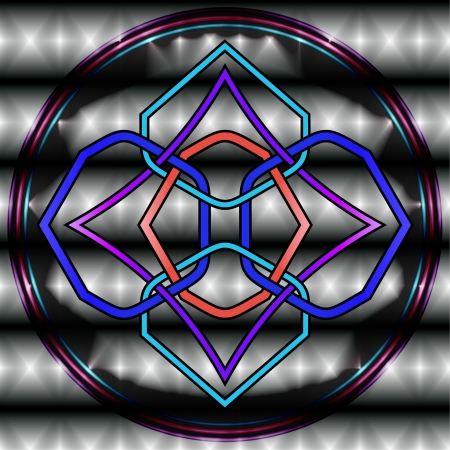 Celtic knot at dark background with rings