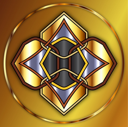 Celtic knot made of gold and metals Vector