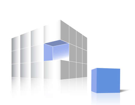 aside: A glossy white cube made of 3d boxes - one blue piece is aside Illustration
