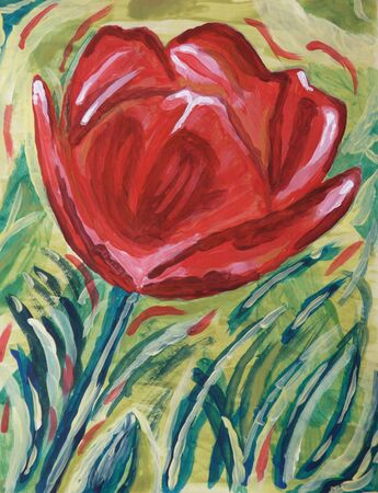 A colorful hand-made painting of a red rose photo