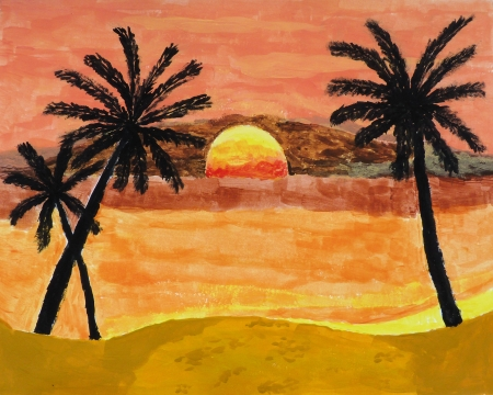 A painting of tropical sunset landscape photo