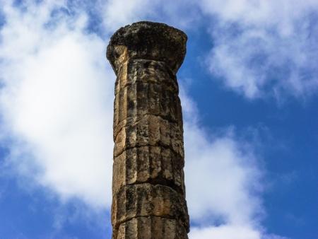 delfi: Rural Greek Delphi Pillar at sky background