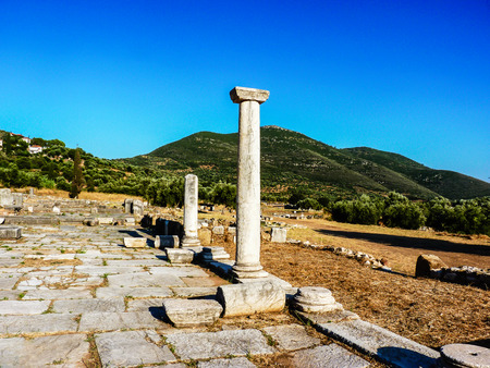 messinia: Pillar ruins at Ancient Messini, Messinia, Peloponnese, Greece Stock Photo