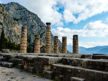 delfi: The Apollo Temple in oracle Delphi, GreeceDelphi,Greece Stock Photo