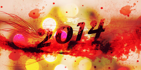 Happy New Year 2014 illustration with grunge text, lines, splashes and lights illustration