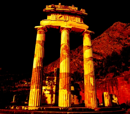 the art of divination: Temple of Athena pronoia at Delphi oracle in Greece