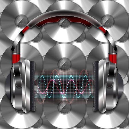 discs: Realistic headphones with music waves.  Illustration on a background of compact discs.
