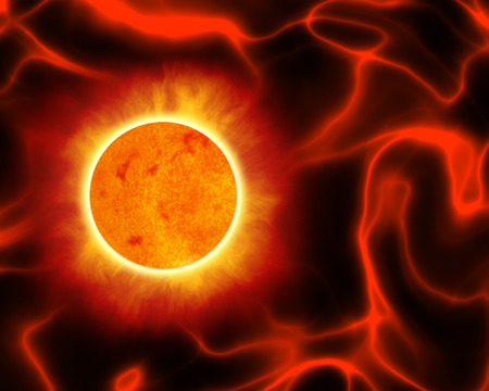 contrastive: An illustration of a remote sun in the deep space