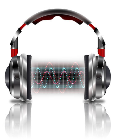 Realistic headphones with music waves.  Illustration on a white background. illustration