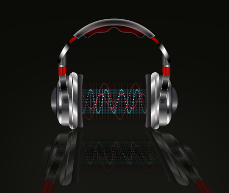 Realistic headphones with music waves.  Illustration on a black background. illustration