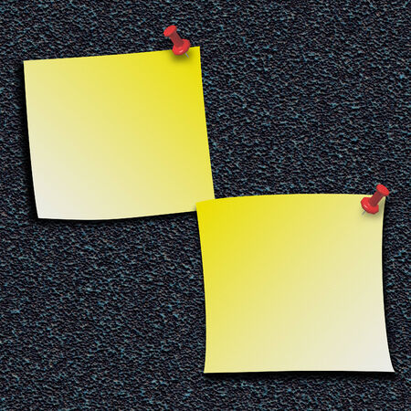 pinned: Yellow stick notes pinned with push pins Stock Photo