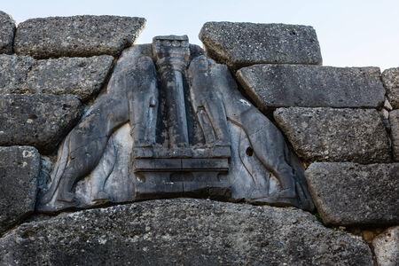 peloponissos: Lion gate closeup in Mykines, Greece