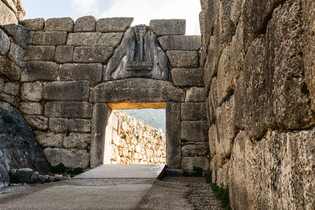 Lion gate picture in Mykines, Greece