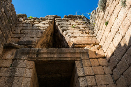 peloponissos: Treasury of Atreus closeup at Mykines ,Greece Stock Photo