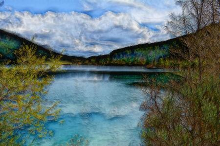 painterly: A lake under a cloudy sky  Painterly landscape  Stock Photo