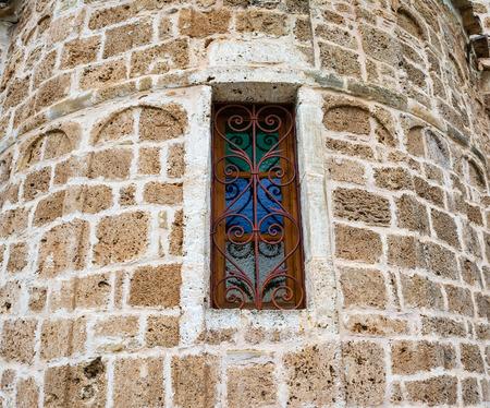 vitro: Ventana vieja iglesia vitro en Grecia Foto de archivo