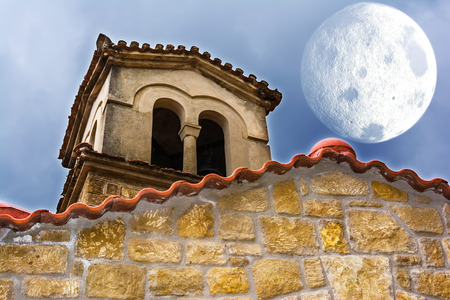 Surrealistic photo of an Old Byzantine church at Greece Stock Photo