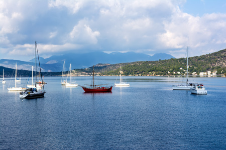 poros: Scenic summer view of boats and yachts in Poros, Greece