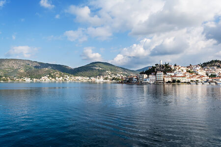 poros: Greece, panoramic photo of the port of Poros island