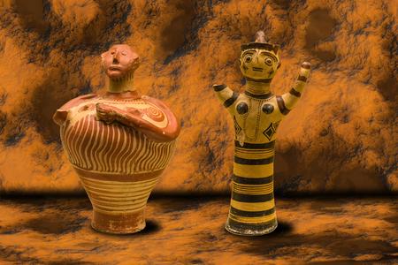 vasi greci: Antichi vasi greci con testa umana su sfondo grotta