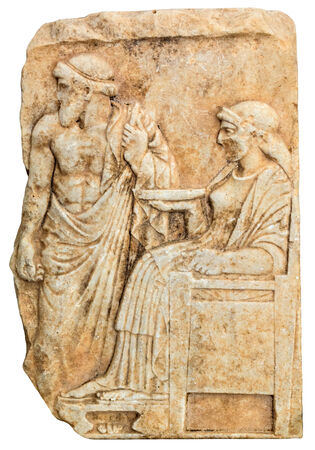 Ancient Greek sculpture with standing male and seated female divinities