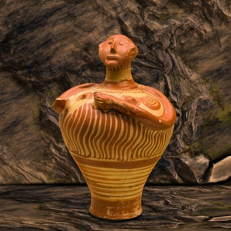 Antigua vasija griega con cabeza humana en el fondo de la cueva