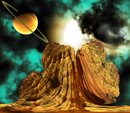 outerspace: Alien Rock with space background and a planet