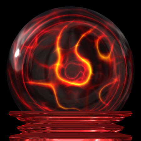 foreshadowing: Red magic crystal ball over a dark background Stock Photo