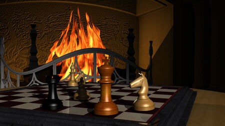 Chess Game in front of a fireplace photo