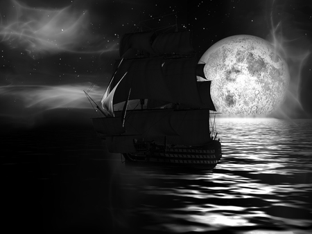 privateer: Sailboat at moonlit night with fog