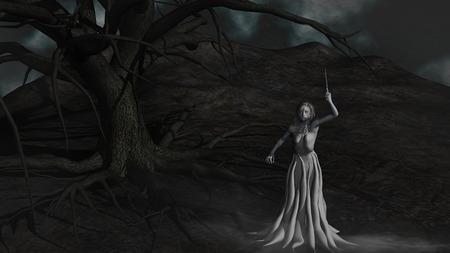 necromancy: Demon under Evil Tree - Witch in the fog Stock Photo