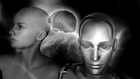 Artificial Intelligence - A robot woman head connected to a female head with a brain between photo