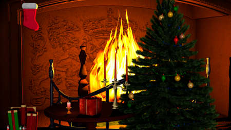 A Christmas tree with gifts and candles near fireplace photo
