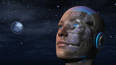 Cyborg woman with night sky background