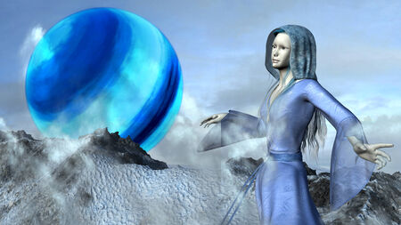 precipice: Fantasy princess elf in waving blue dress flying over the mountains with background of a big blue planet