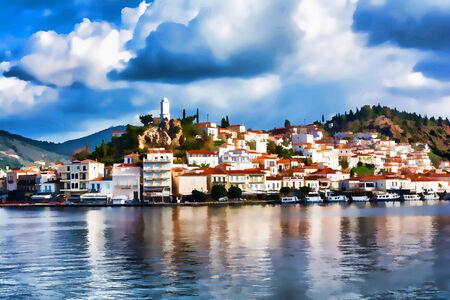 vacance: Greece, the port of Poros island - Impressionism effect