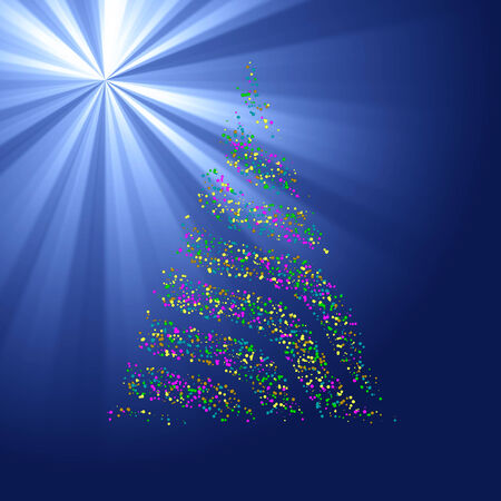 ray light: Christmas bokeh tree on blue light ray background