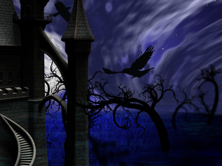 Illustration of night forest with full moon. Also a castle with ravens in the air illustration